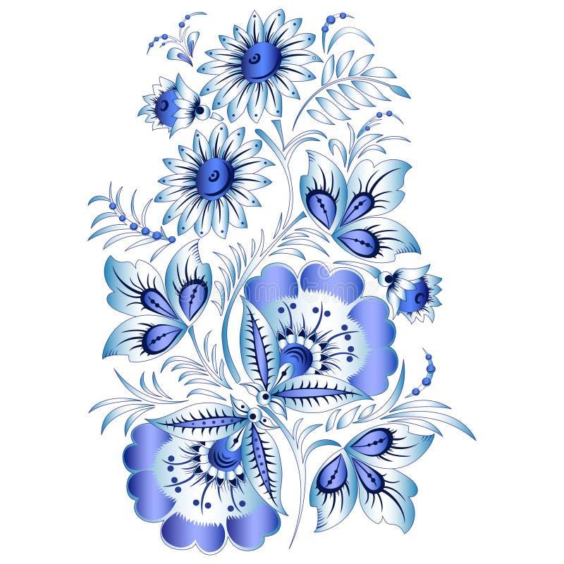 Rysk nationell blom- modell i stil Gzhel (blommor av rysk keramik, målade blått på vit). stock illustrationer