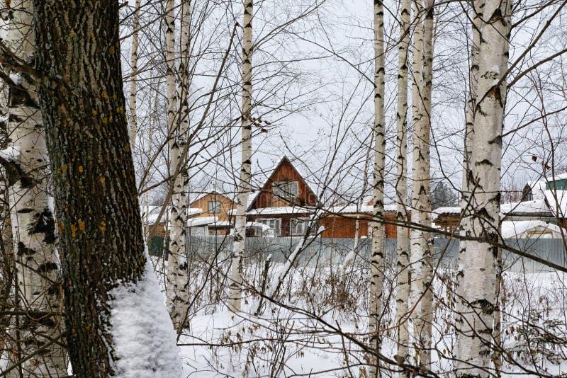 Rysk by och trähus i det i en vinter royaltyfria foton