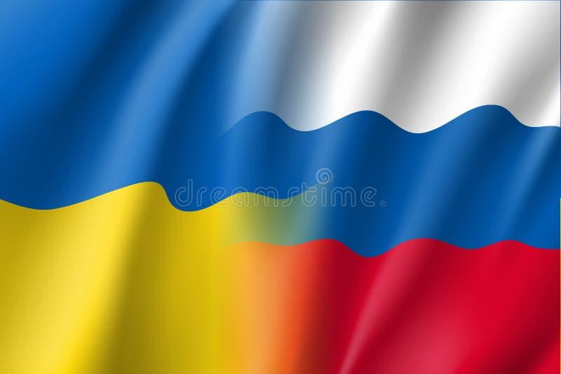 Rysk och ukrainsk vektorflagga vektor illustrationer