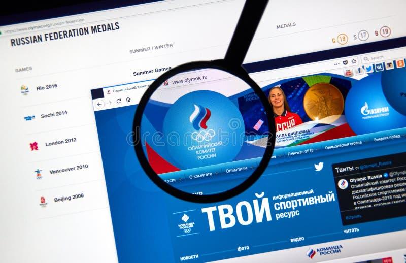 Rysk olympisk kommittéwebbsida arkivfoto