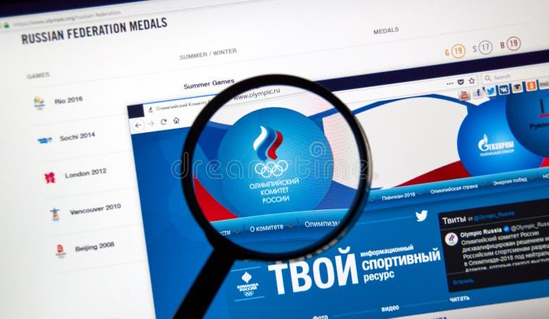 Rysk olympisk kommittéwebbsida arkivbild