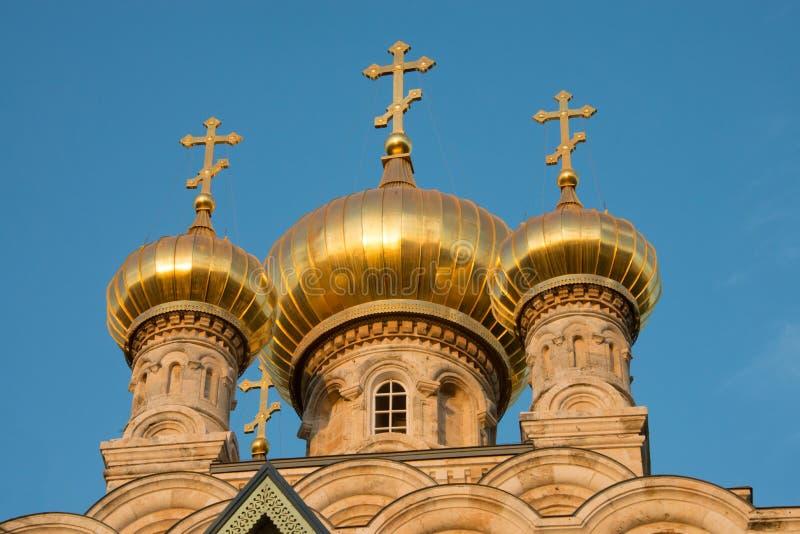 Rysk ortodox kyrka av Mary Magdalene, Jerusalem fotografering för bildbyråer