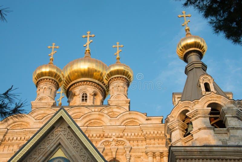 Rysk ortodox kyrka av Mary Magdalene, Jerusalem arkivbilder