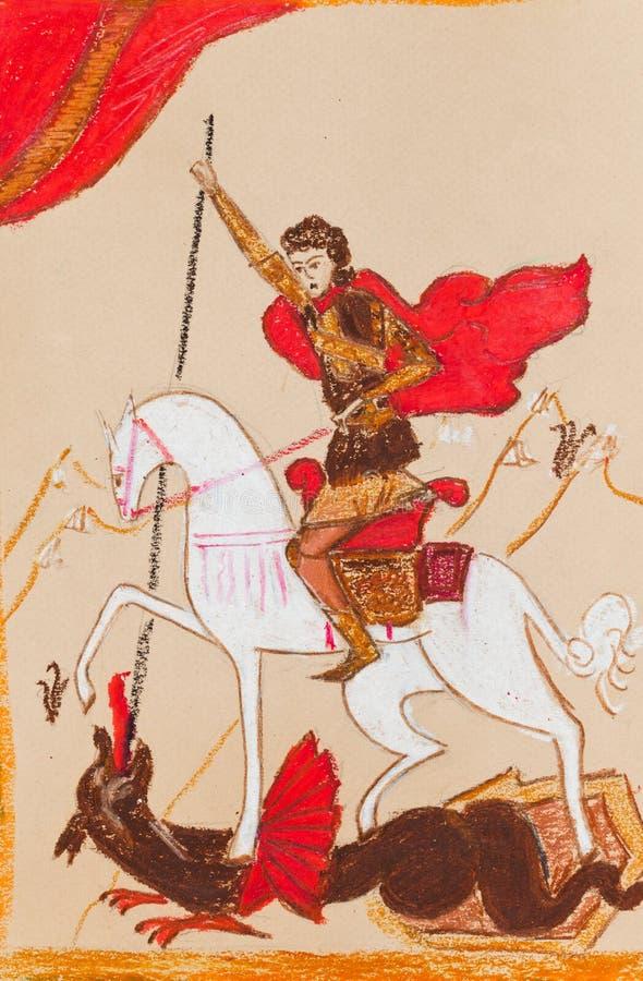Rysk riddare i en röd kappa royaltyfri illustrationer