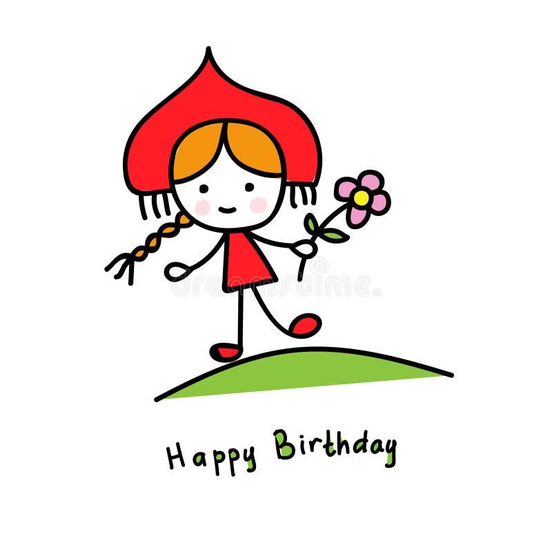 Rysk skönhet i kokoshnik och en blomma i ängen lycklig födelsedag stock illustrationer