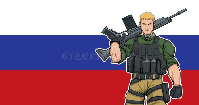 Rysk soldat Background vektor illustrationer