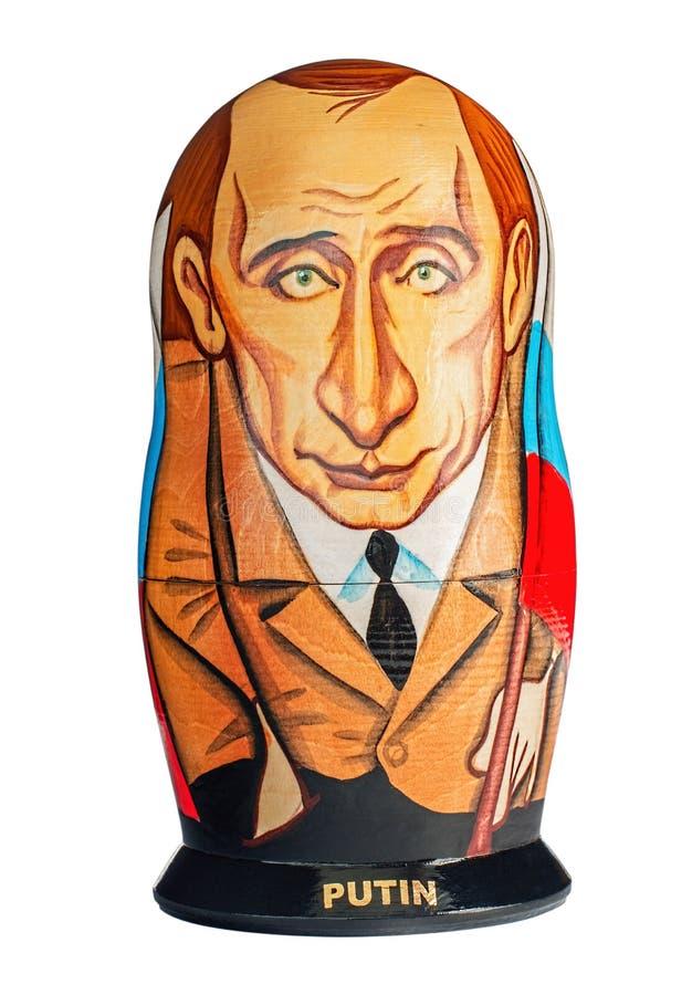Rysk souvenir, trämatryoshka Putin arkivfoton