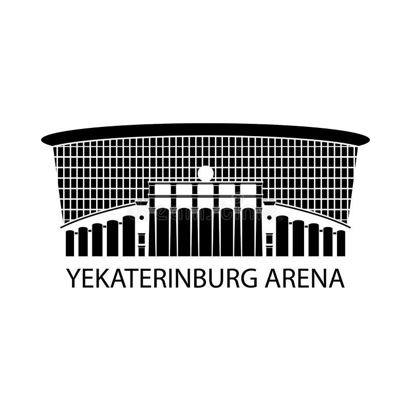 Rysk stadionteckensymbol, vektorillustration Logo av den runda arenan, Ryssland footbal stadion Plan design vektor illustrationer