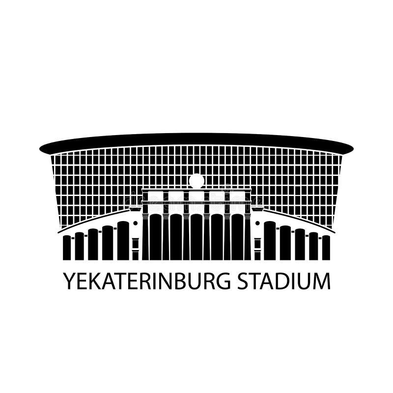 Rysk stadionteckensymbol, vektorillustration Logo av den runda arenan, Ryssland Isolerad Footbal stadion Plan design stock illustrationer