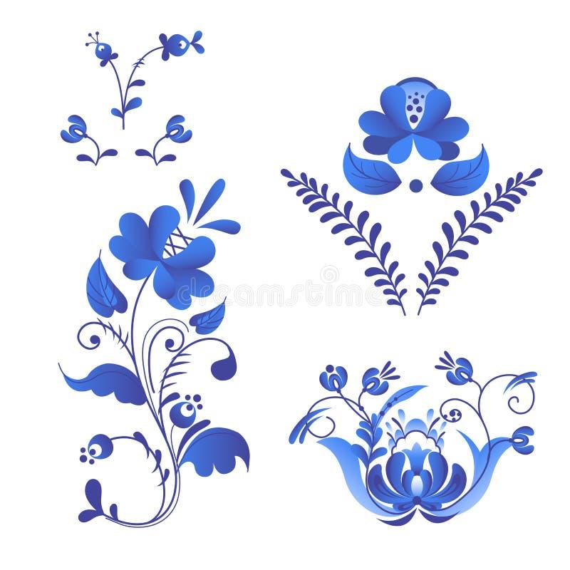 Rysk stil för prydnadkonstgzhel som målas med blått på traditionella folk för vit blomma, blommar filialmodellvektorn royaltyfri illustrationer
