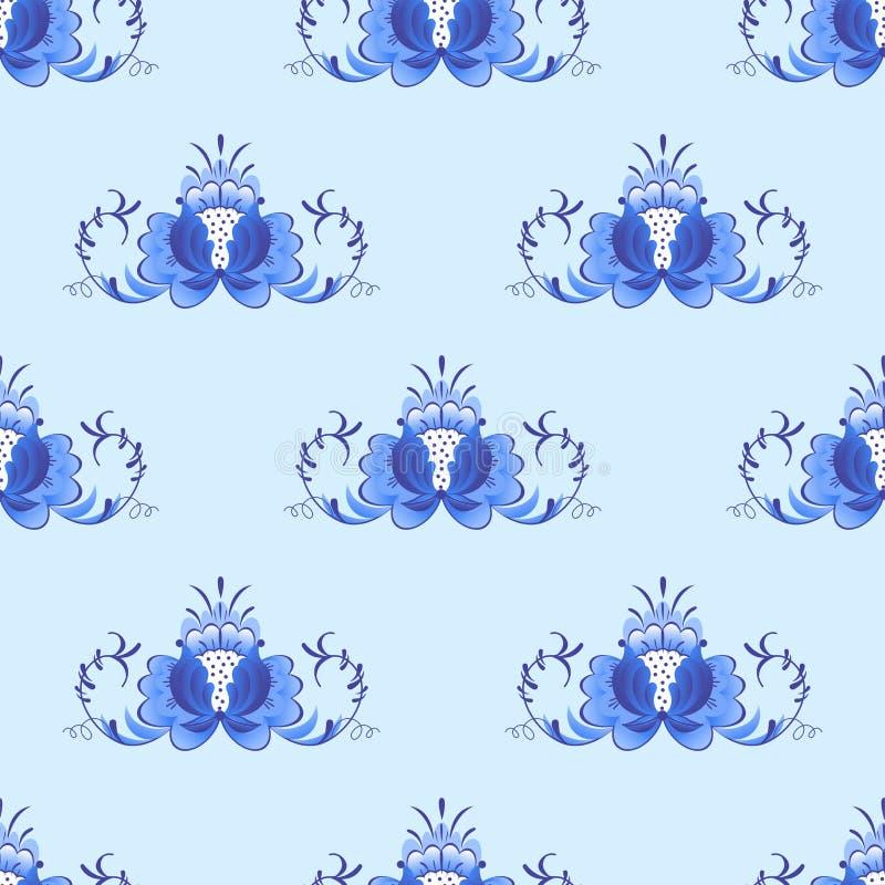 Rysk stil för prydnadkonstgzhel som målas med folk för den sömlösa modellen för blåttblomman traditionella, blommar filialmodellv royaltyfri illustrationer