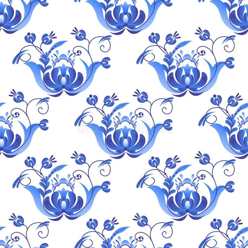 Rysk stil för prydnadkonstgzhel som målas med folk för den sömlösa modellen för blåttblomman traditionella, blommar filialmodellv stock illustrationer