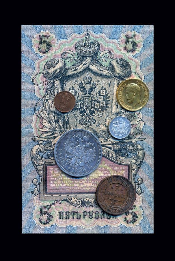Ryska forntida pengar för collage royaltyfria foton