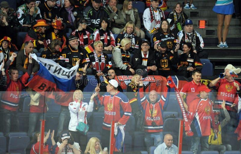 Ryska hockeyfans royaltyfri bild