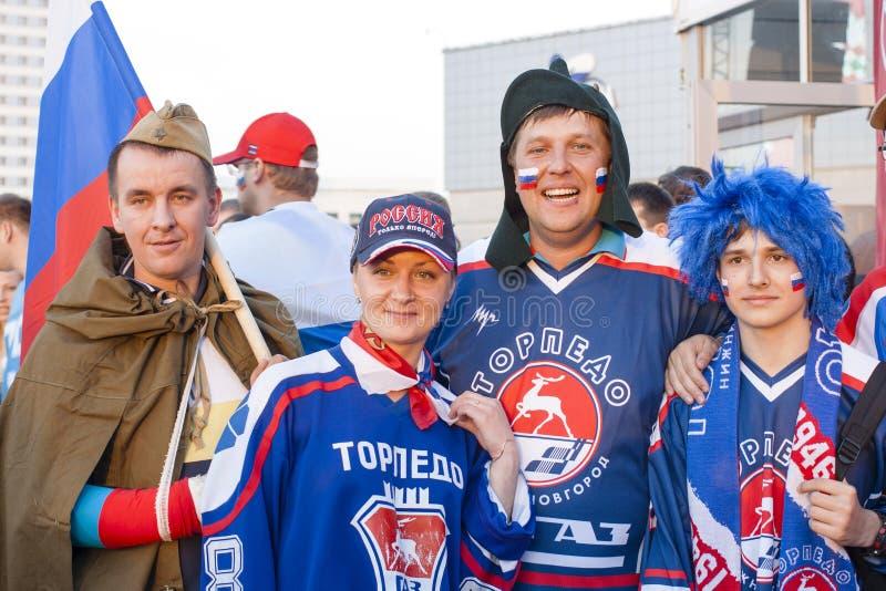 Ryska ishockeyfans fotografering för bildbyråer