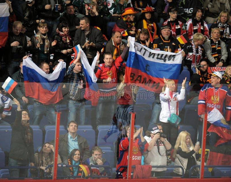 Ryska ishockeyfans royaltyfria foton