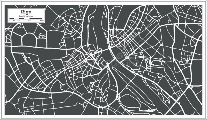 Ryska Latvia mapa w Retro stylu ilustracja wektor