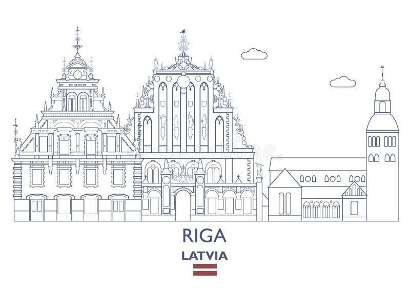 Ryska miasto linia horyzontu, Latvia ilustracji