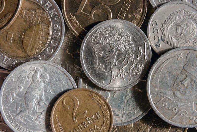 Ryska monetära mynt royaltyfria bilder