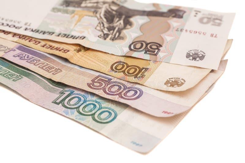 Ryska monetära sedlar av olik värdighet arkivfoton