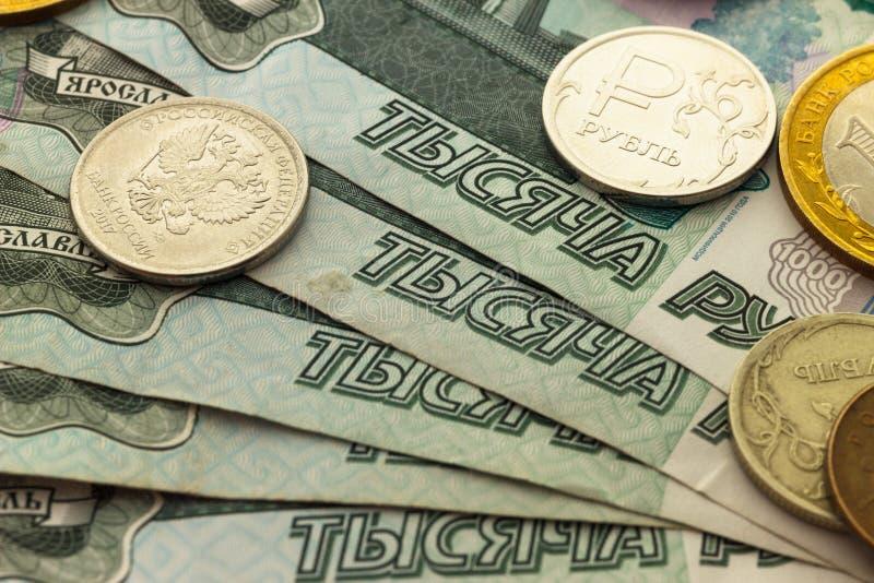 Ryska mynt för en handfull av olika valörer royaltyfria bilder