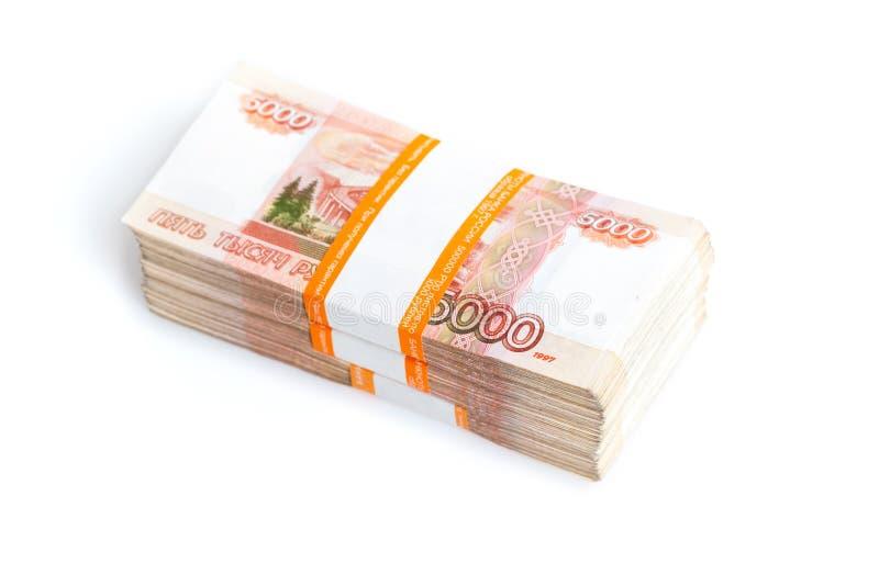 Ryska rubel som isoleras på vit, stor bunt arkivbild