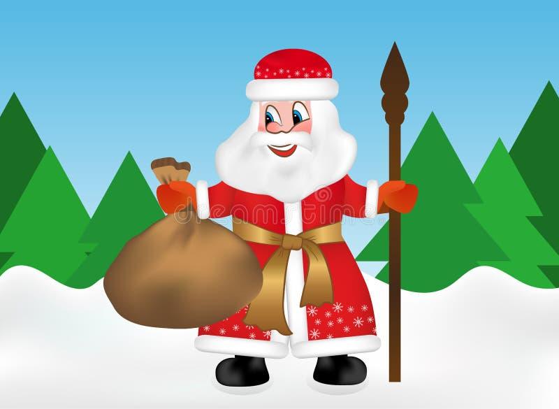 Ryska Santa Claus eller fadern Frost också som är bekant som Ded Moroz med personalen och, håller en påse mycket av gåvor i snösk royaltyfri illustrationer