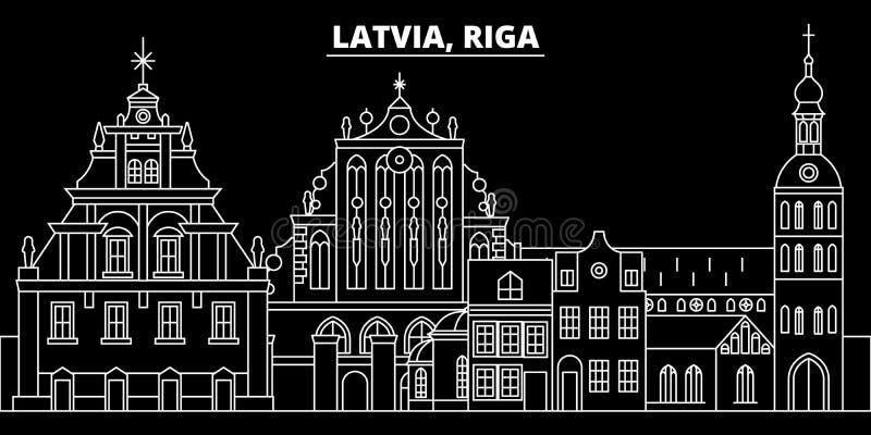 Ryska sylwetki linia horyzontu Latvia - Ryski wektorowy miasto, latvian liniowa architektura, budynki Ryska podróży ilustracja royalty ilustracja