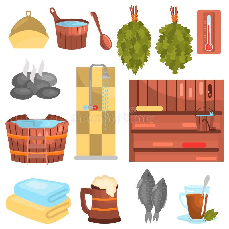 Ryska symboler för badfärglägenhet ställde in för rengöringsduk och mobil design vektor illustrationer