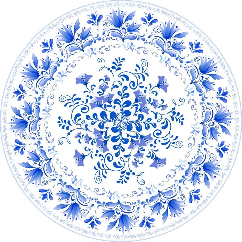 Ryska traditionella pläterar i gzhel utformar royaltyfri illustrationer