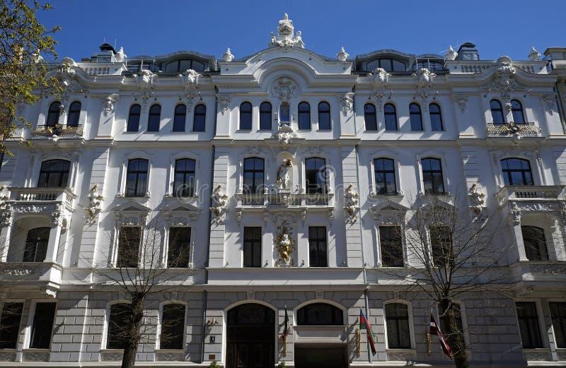 Ryski, Ausekla, 4, w historycznym budynku z elementami eklektyzm Nouveau i sztuka obraz royalty free