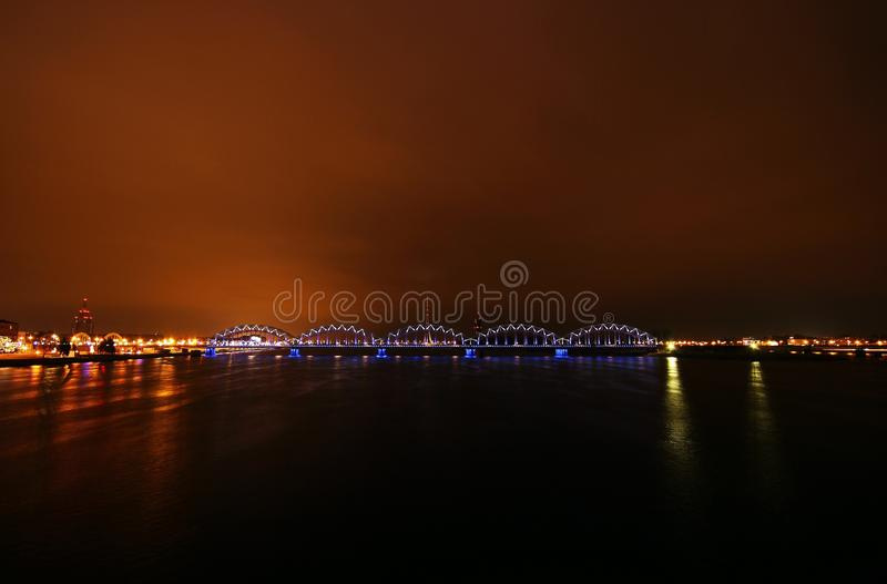 Ryski Kolejowy most zdjęcia stock