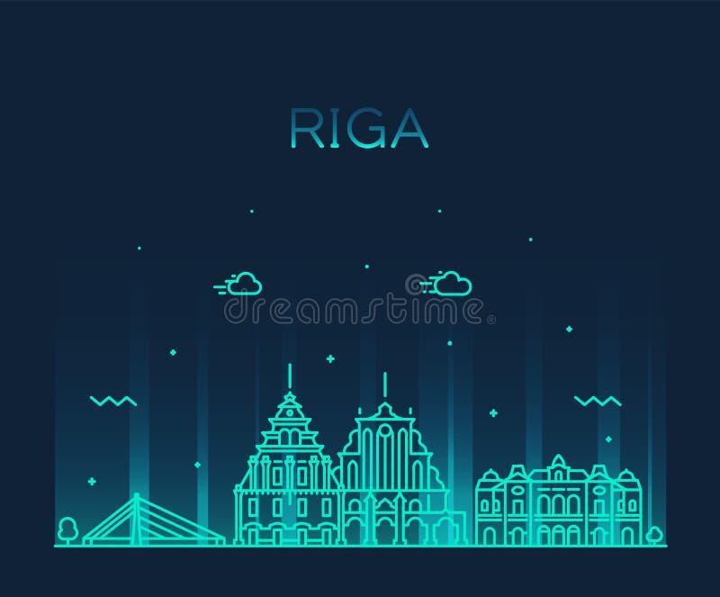 Ryski linia horyzontu Latvia Modny wektorowa ilustracja ilustracja wektor