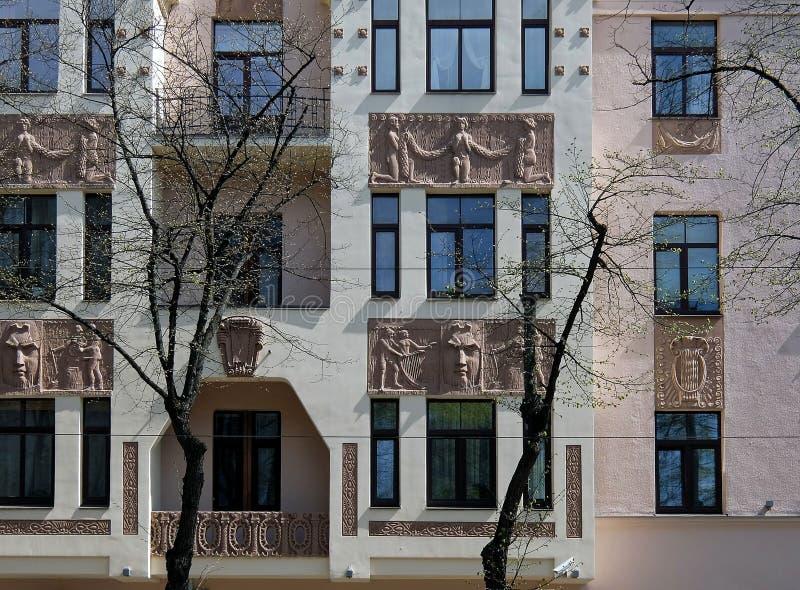 Ryski, Miera ulica 54, sztuka Nouveau, elementy fasada fotografia stock