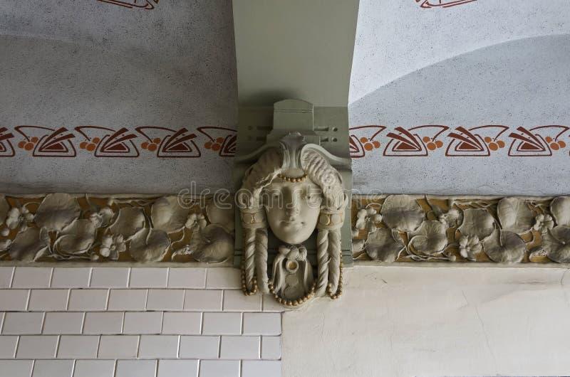 Ryski, uliczny Blaumanja 11-13, historyczni budynki, wystrój zdjęcie royalty free