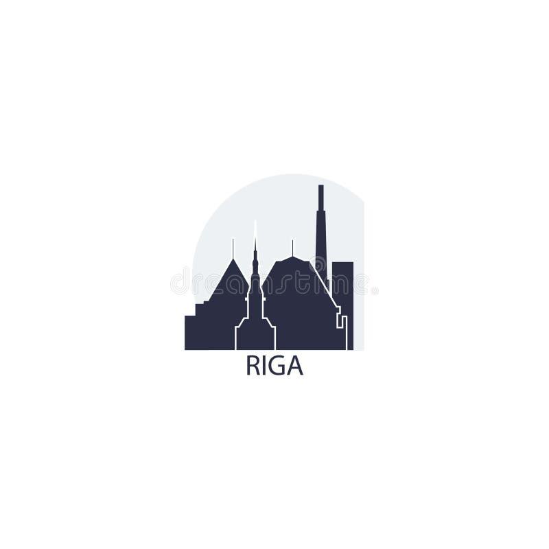 Ryskiej miasto linii horyzontu sylwetki loga wektorowa ilustracja royalty ilustracja