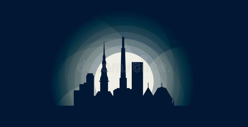 Ryskiej miasto linii horyzontu sylwetki loga wektorowa ilustracja ilustracja wektor