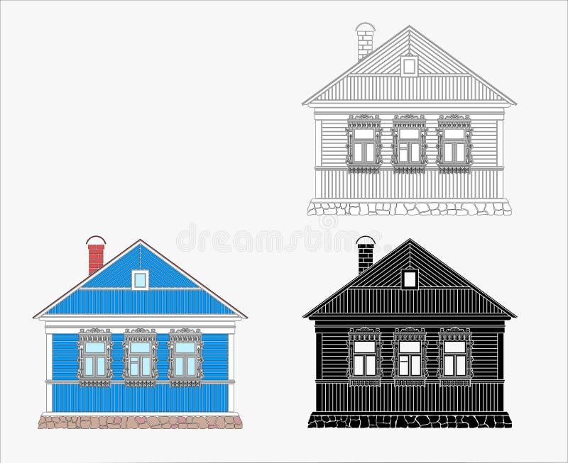 Ryskt gammalt traditionellt tr?hus vektor illustrationer