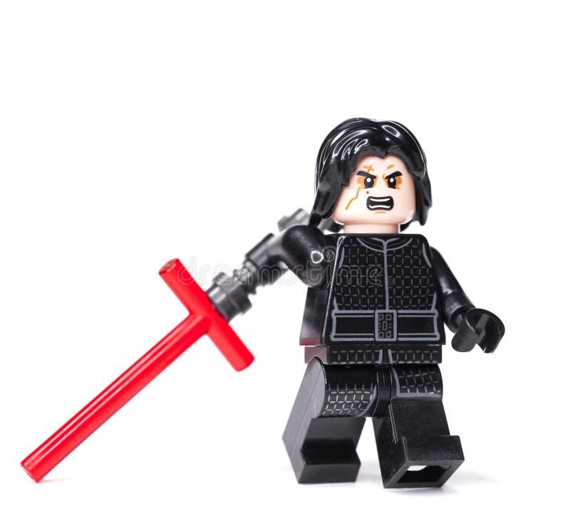 RYSKT JANUARI 15, 2019 LEGO STAR WARS Kylo Ren kortkort-diagram av den Lego Star Wars sagan fotografering för bildbyråer
