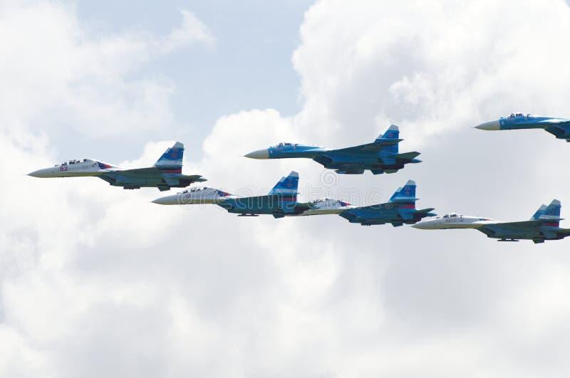 Ryskt kämpeflygplan Sukhoi Su-27 royaltyfri foto