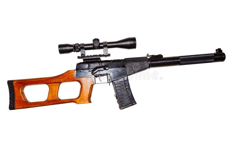 Ryskt prickskyttgevär med optisk räckvidd som isoleras på vit bakgrund fotografering för bildbyråer