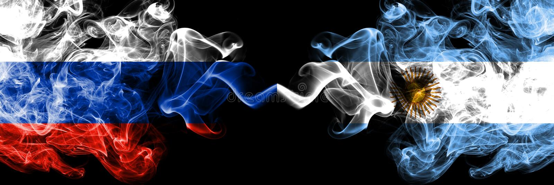 Ryskt vs Argentina, förlade argentinska rökflaggor sidan - vid - sidan Tjocka kulöra silkeslena rökflaggor av Ryssland och Argent royaltyfri illustrationer