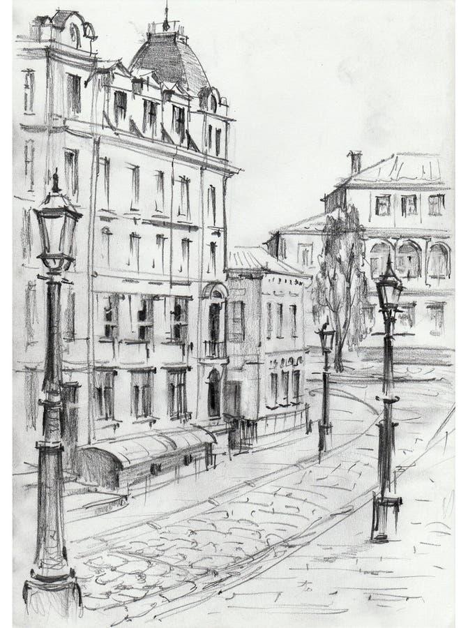 Rysować architektoniczne struktury stary miasto wykonywał od życia Dziejowy budynek w centrum Kijów Pejzażu miejskiego ske ilustracji