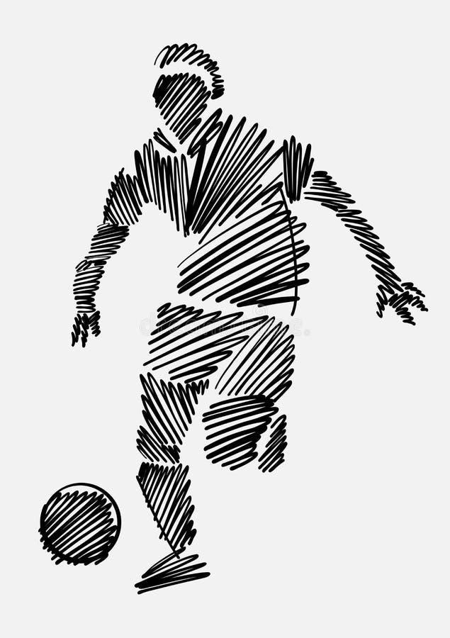 Rysować gracz futbolu w czarnym nakreślenie formacie na lekkim tle zdjęcia stock