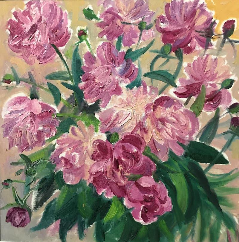 Rysować jaskrawy słoneczny dzień, duże różowe peonie ilustracji