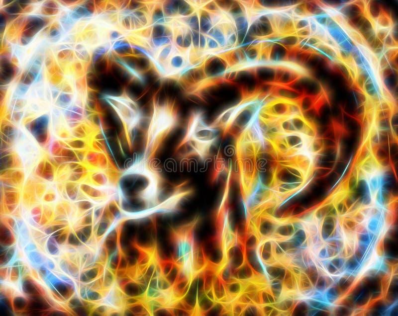 Rysować męscy dzicy cakle z możnymi rogami, fractal skutek ilustracji