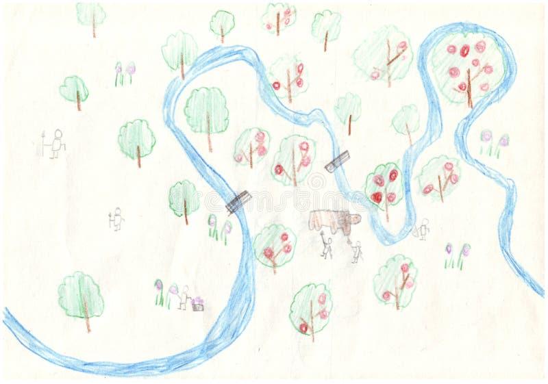 Rysować barwionymi ołówkami w dzieciaka stylu rzeczna mapa od ptasiego ` s oka widoku ilustracji
