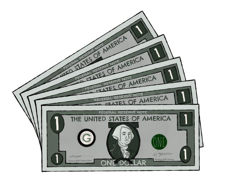 Rysować dolarów amerykańskich rachunki obraz stock