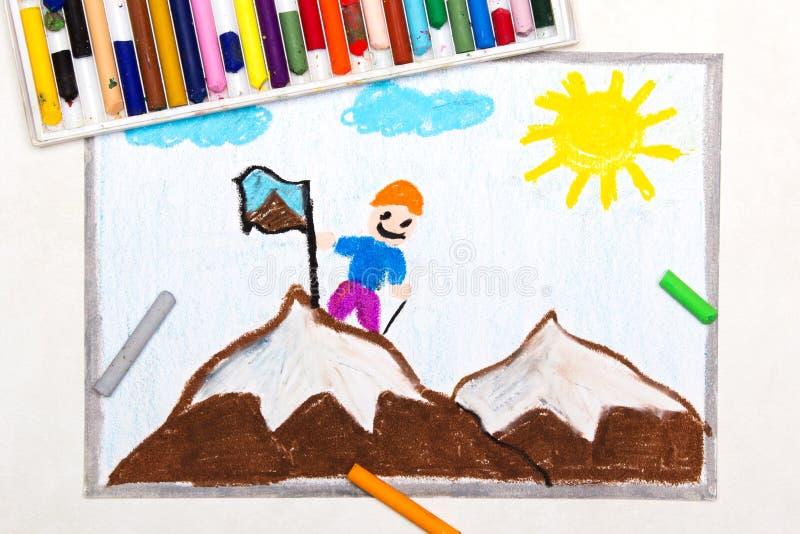Rysować: Dosięgać szczyt góra royalty ilustracja
