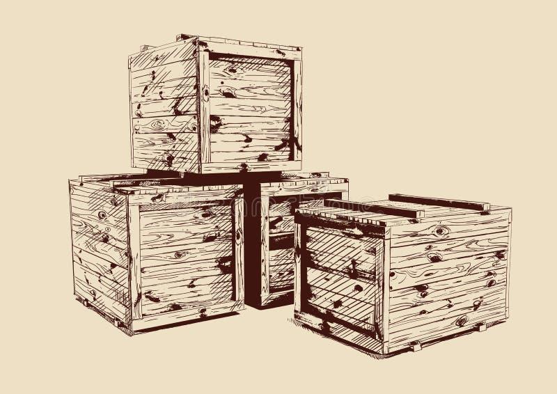 Rysować drewniane rocznik skrzynki royalty ilustracja